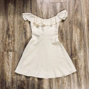 Zara Cream Off the Shoulder Dress